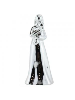 Mãe Criança Porcelana Prateado Modelo B 17cm