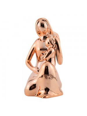 Mãe Criança Porcelana Rosê Modelo A 12cm