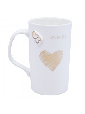 CANECA PORCELANA BRANCA I LOVE YOU 340ML
