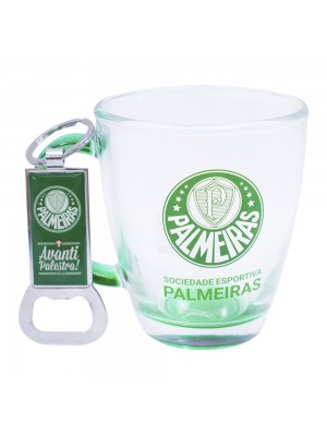 Jg Com Uma Caneca De Vidro E Um Abridor De Garrafas 370ml - Palmeiras