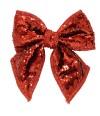 Laço Natalino Lantejoulas Vermelho/Dourado 24x22.5cm - Enfeite Natalino