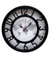 Relógio Parede Preto Mapa-Múndi 30x30cm