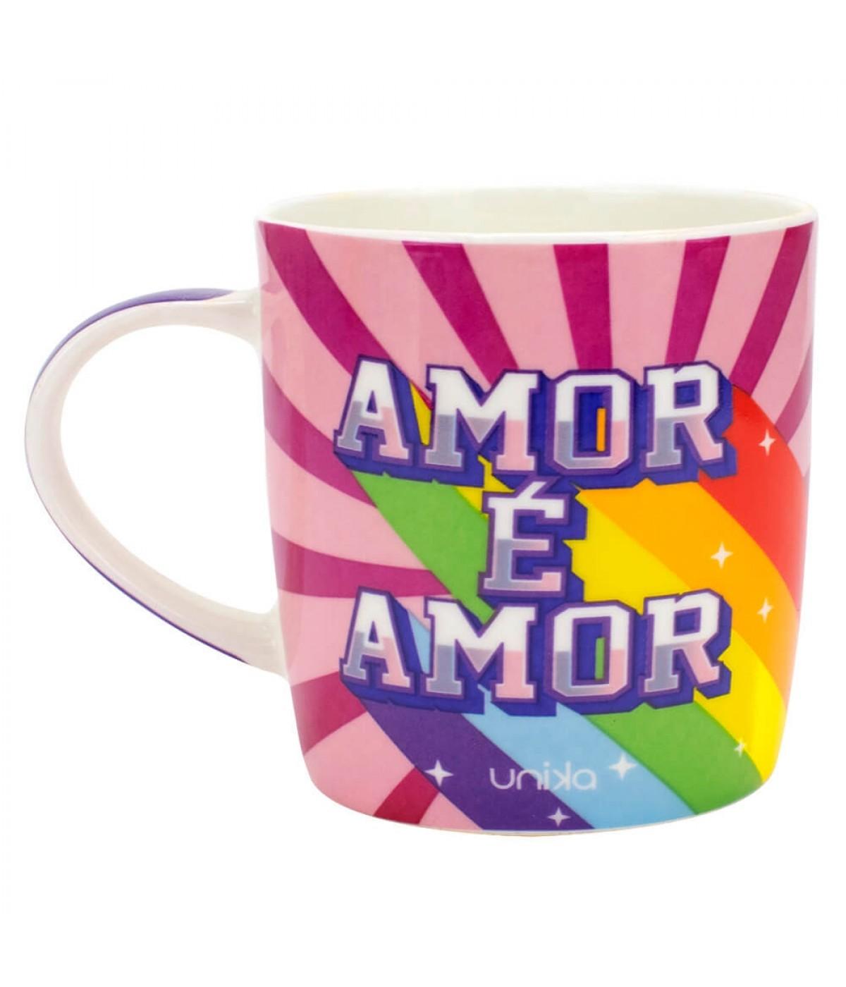 Caneca Cerâmica Arco-Íris Amor É Amor 390ml