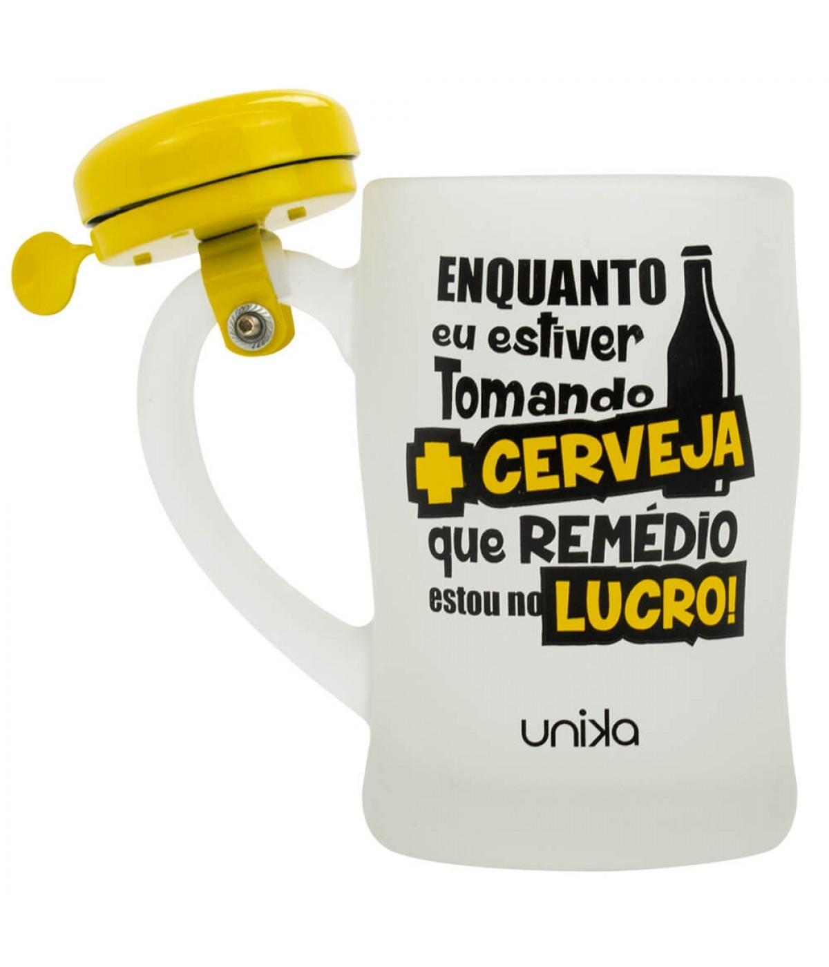 Caneca Vidro Cerveja Lucro Campainha 400ml