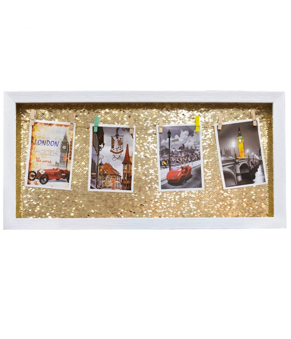 Porta Retrato Varal Lantejoulas Dourado Branco 4 fotos