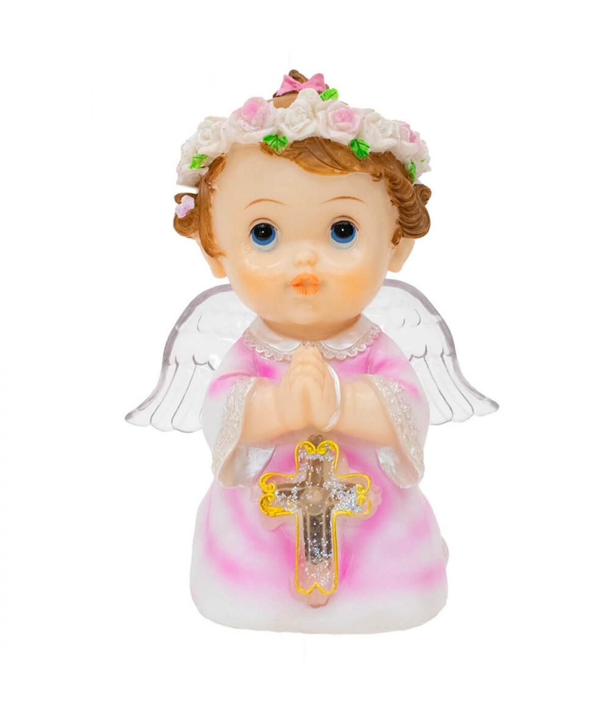 Anjinho Rosa Oração 17cm - Enfeite Resina