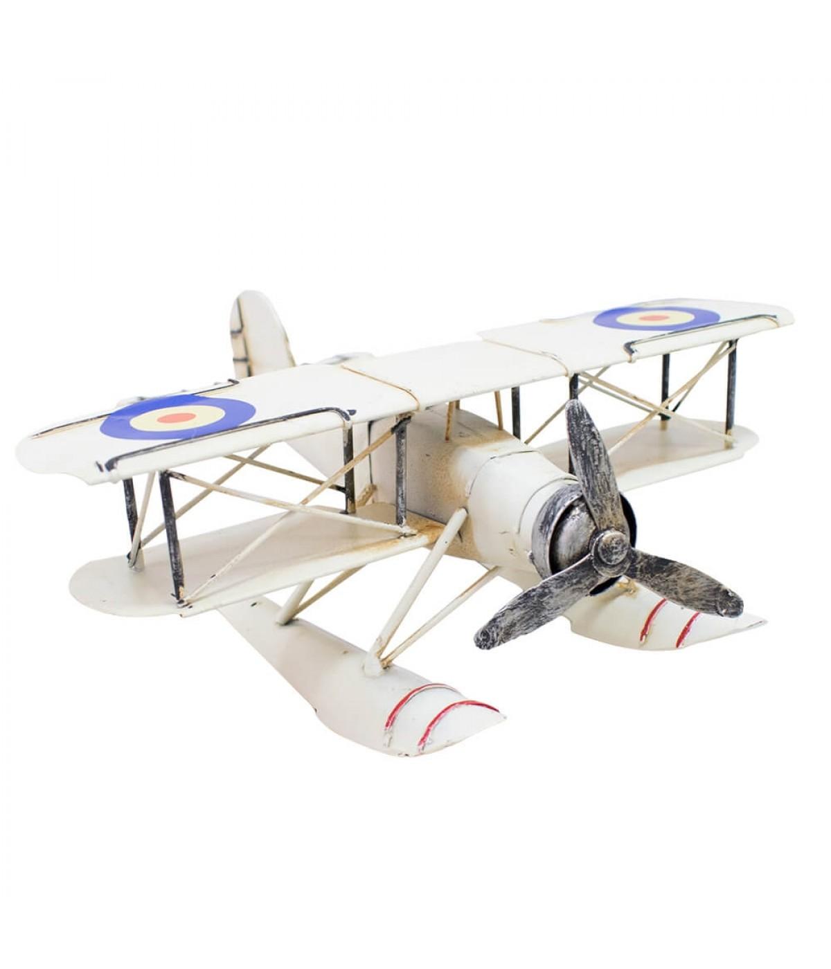 Avião Anfíbio Branco De Hélice 22.5cm Retrô - Vintage