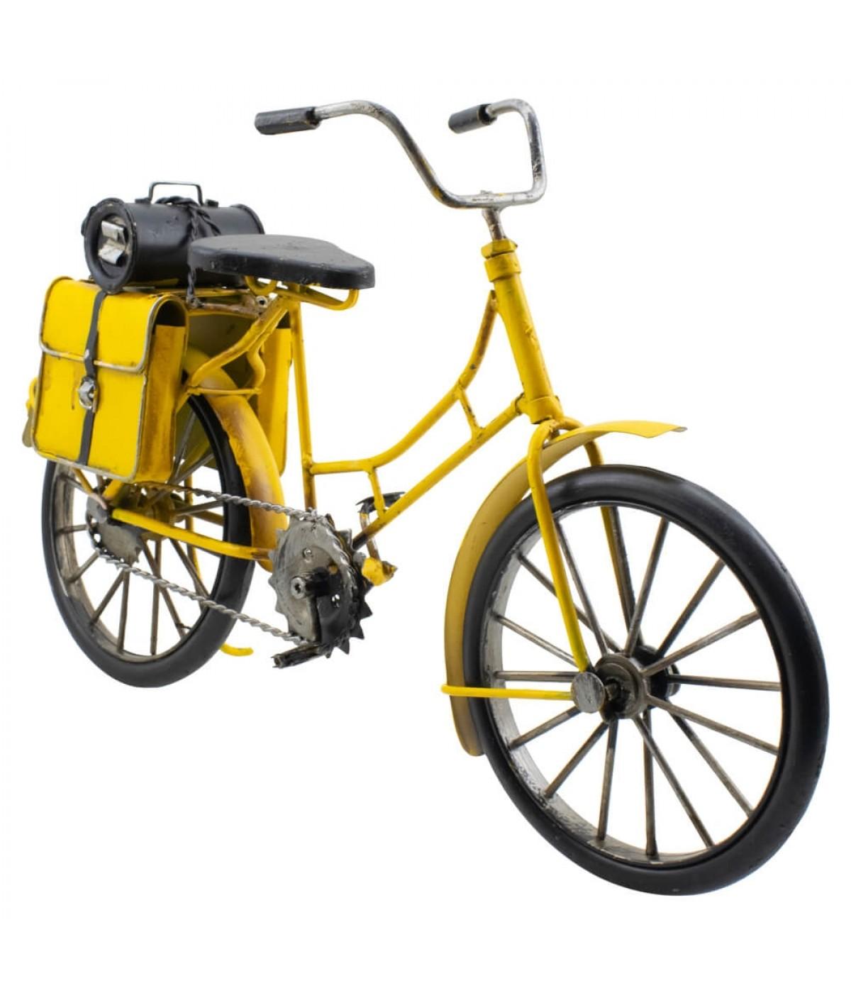 Bicicleta Amarela 2 Bolsas 30cm Estilo Retrô - Vintage