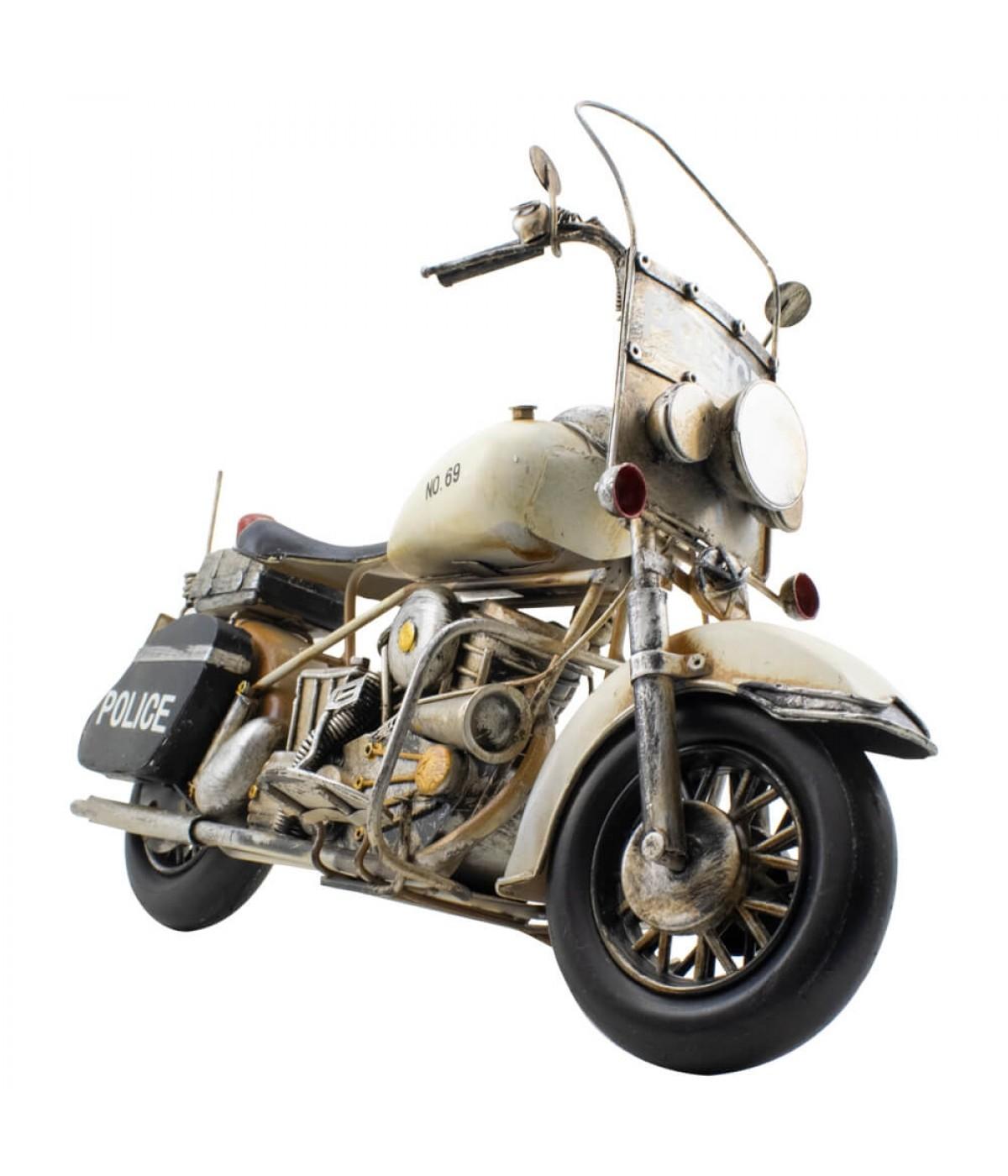 Motocicleta Branca Policial 34cm Estilo Retrô - Vintage