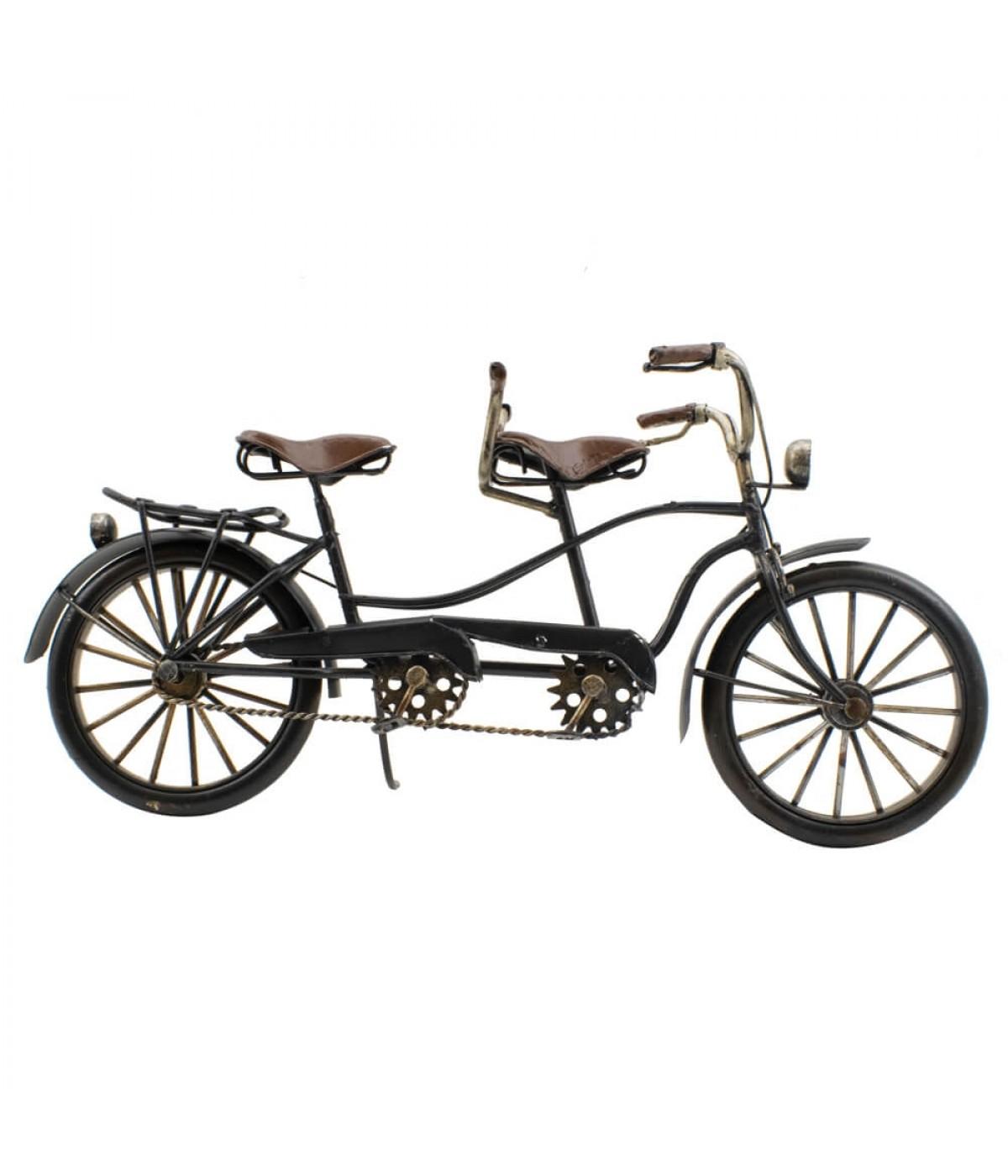 Bicicleta Preta 2 Lugares 30cm Estilo Retrô - Vintage