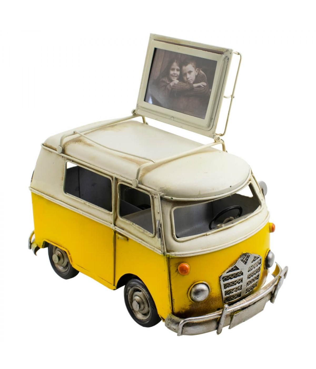 Kombi Amarelo 23cm Porta Retrato 8.5x6cm Estilo Retrô - Vintage
