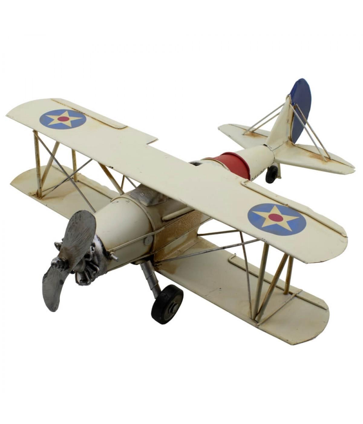 Avião Branco 1 Hélice Asa Dupla 34cm Estilo Retrô - Vintage