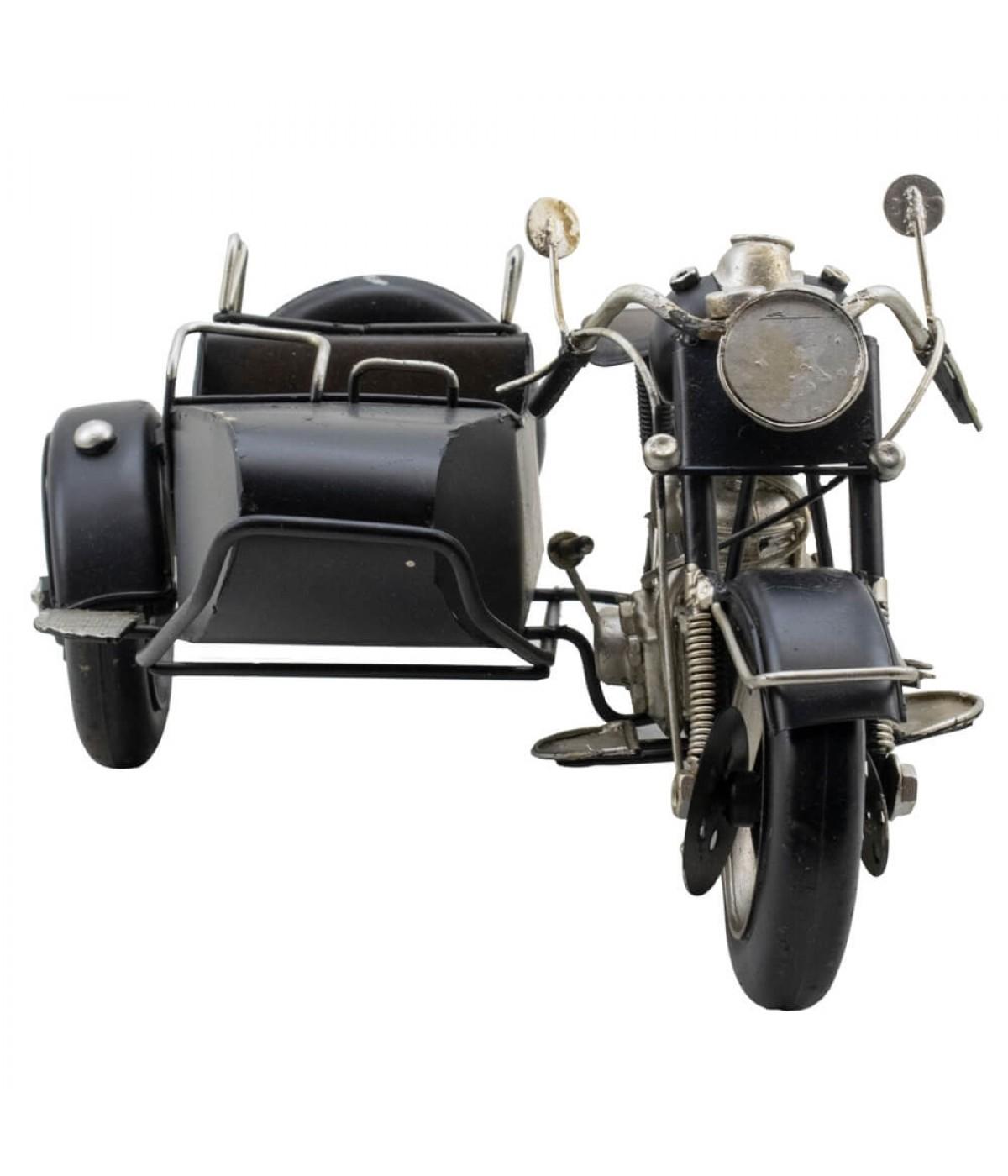 Motocicleta Preta Com Sidecar 28cm Estilo Retrô - Vintage