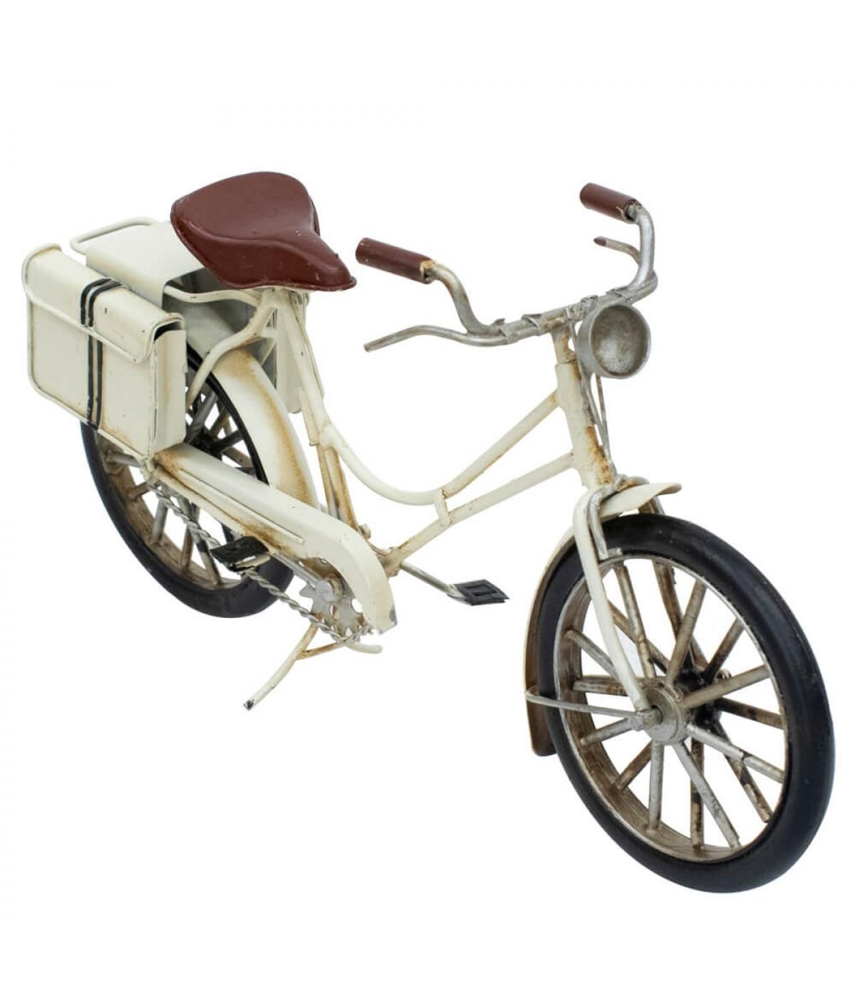 Bicicleta Branca 14.5x29x7.5cm Estilo Retrô - Vintage