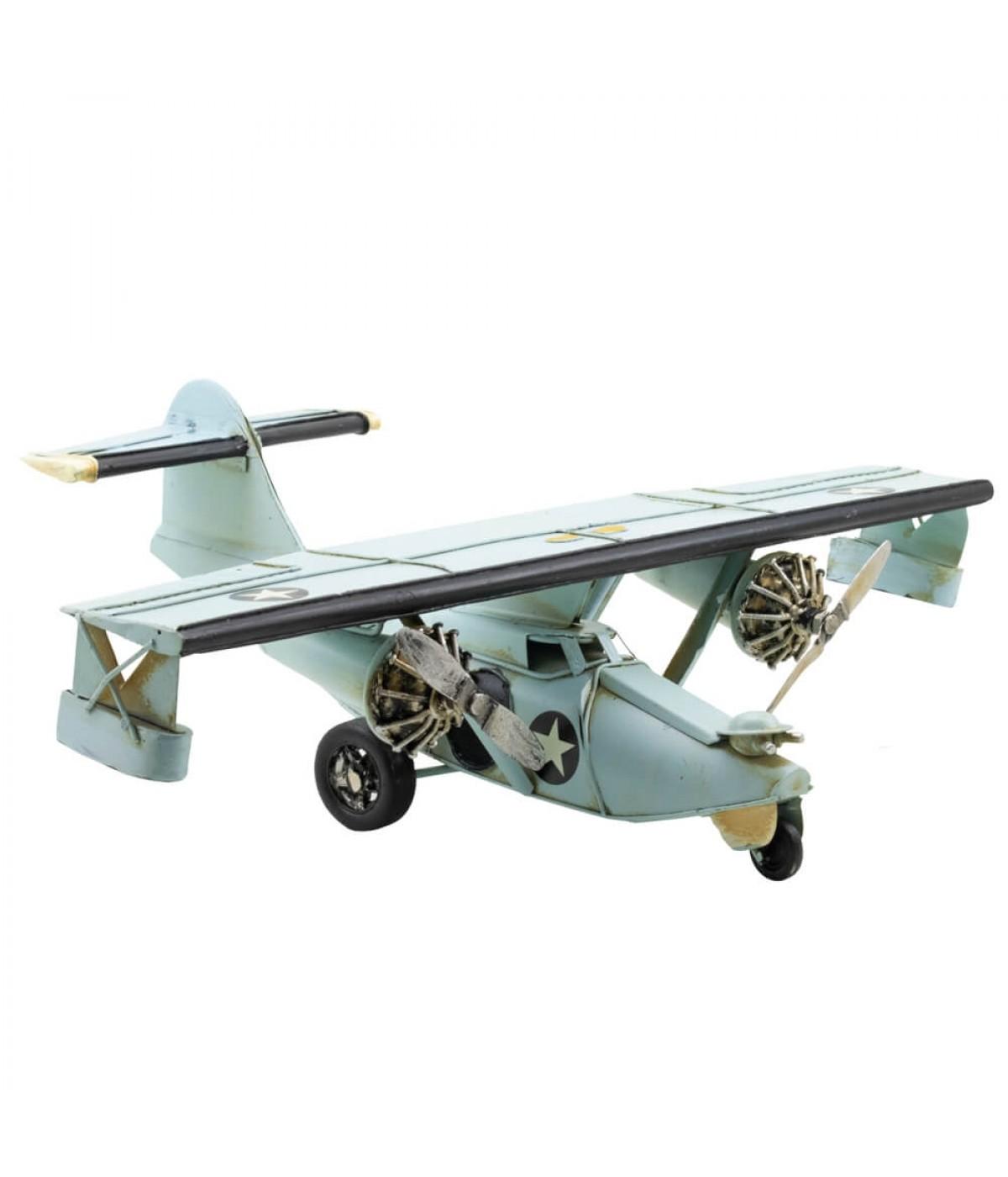 Avião Azul 2 Hélices 35cm Estilo Retrô - Vintage