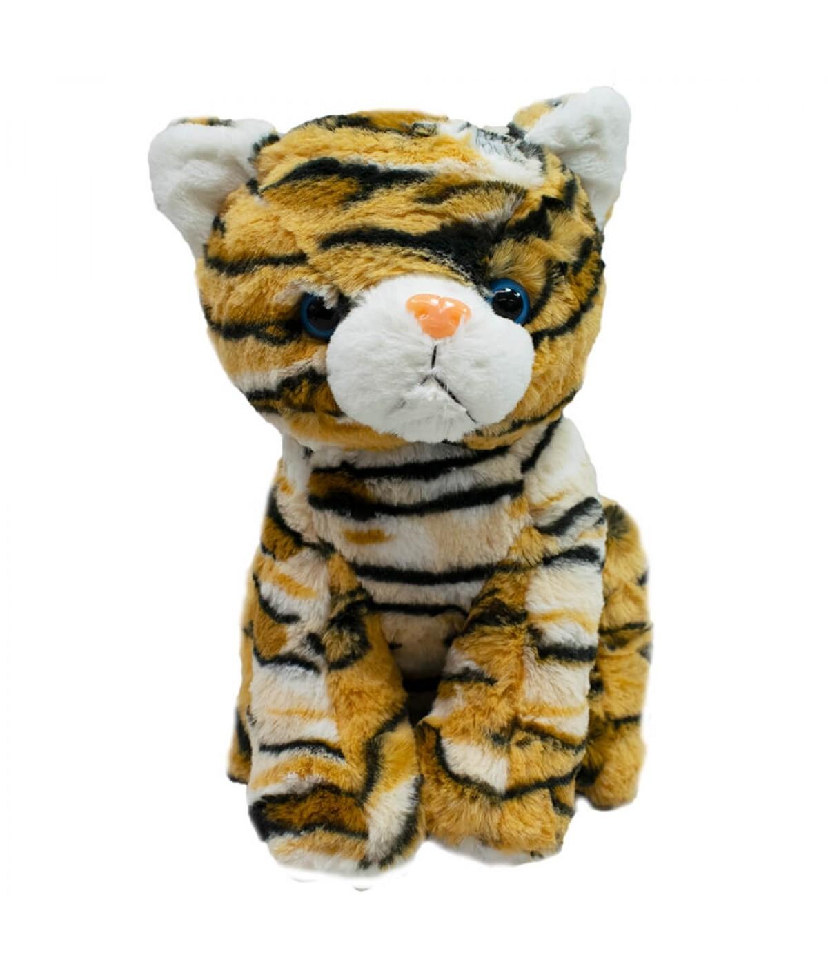 Gato Pelagem Tigre Sentado 26cm - Pelúcia