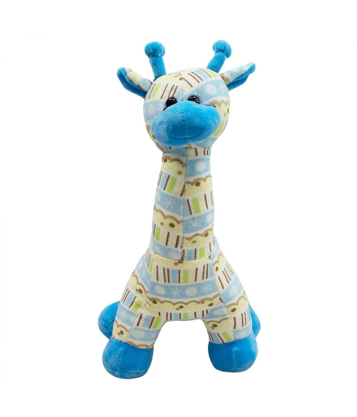 Girafa Azul Em Pé 30cm - Pelúcia