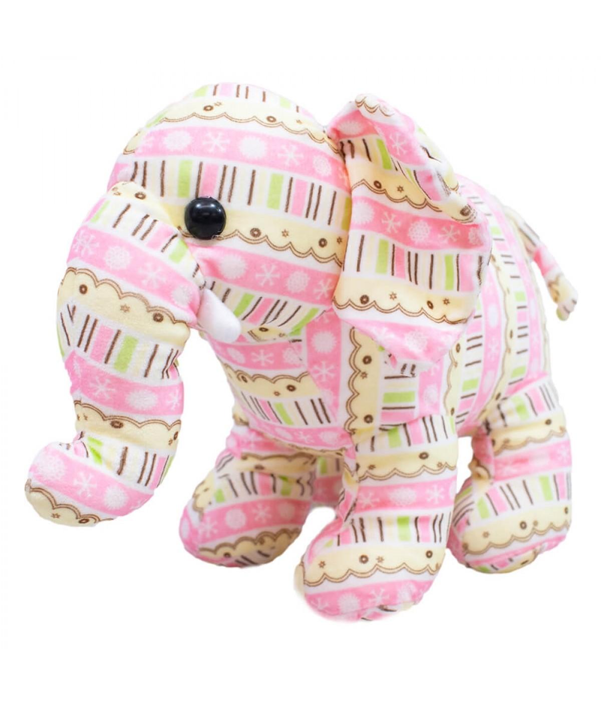 Elefante Rosa Em Pé 23cm - Pelúcia