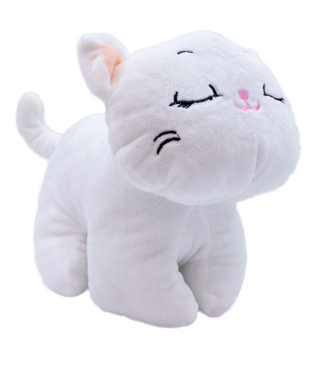 Gato Branco Olhos Fechados 21cm - Pelúcia