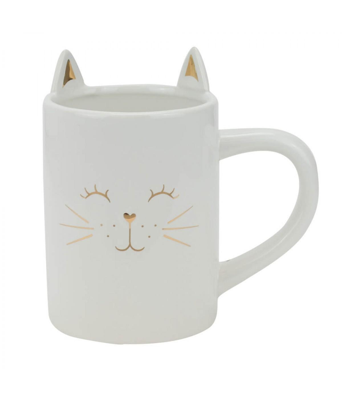 Vaso Caneca Cerâmica Branco Gato 13cm