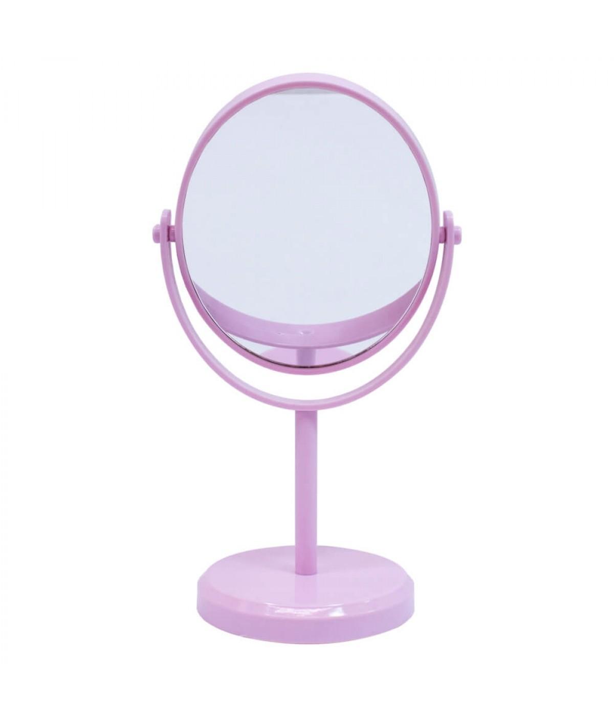 Espelho De Mesa Oval Rosa Dupla Face 30cm