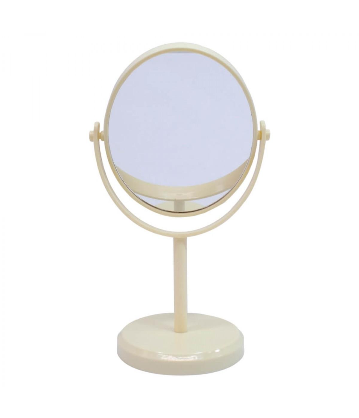 Espelho De Mesa Oval Amarelo Dupla Face 30cm