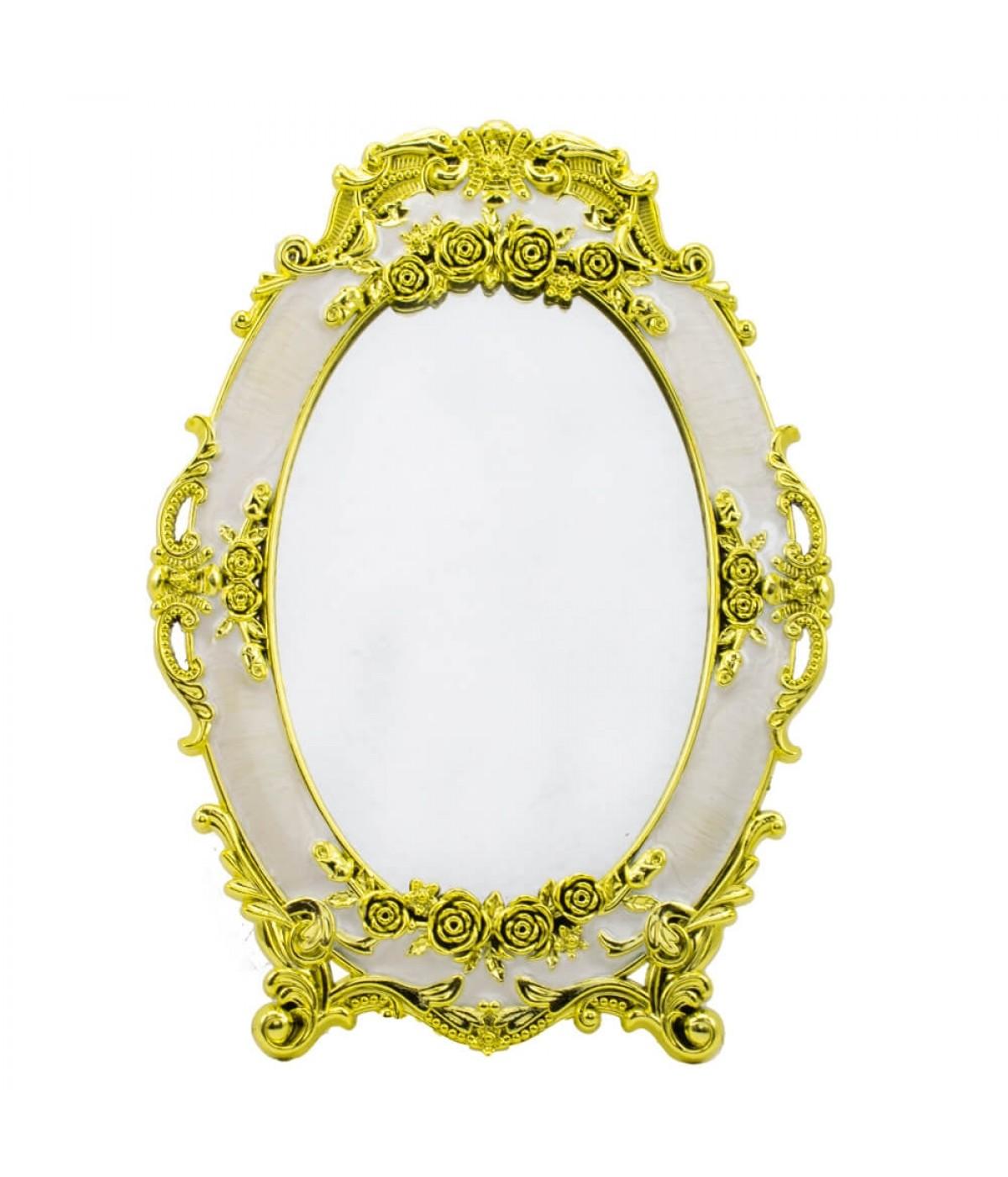 Espelho Oval Detalhes Dourado 24.5cm
