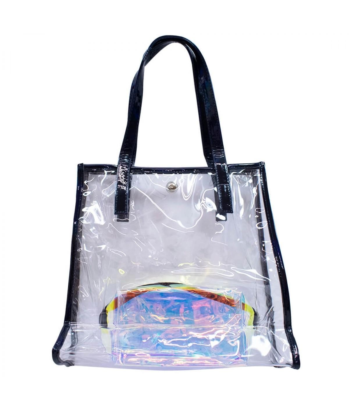 Jg. Bolsa Com Necessaire Transparente Preto 30x13x31cm