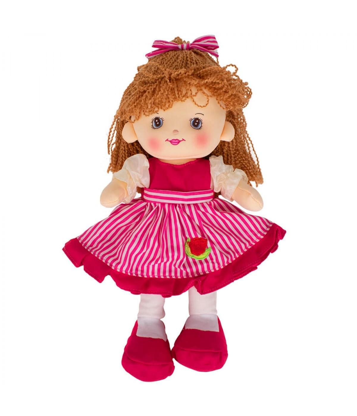 Boneca Laço Cabelo Vestido Pink 37cm