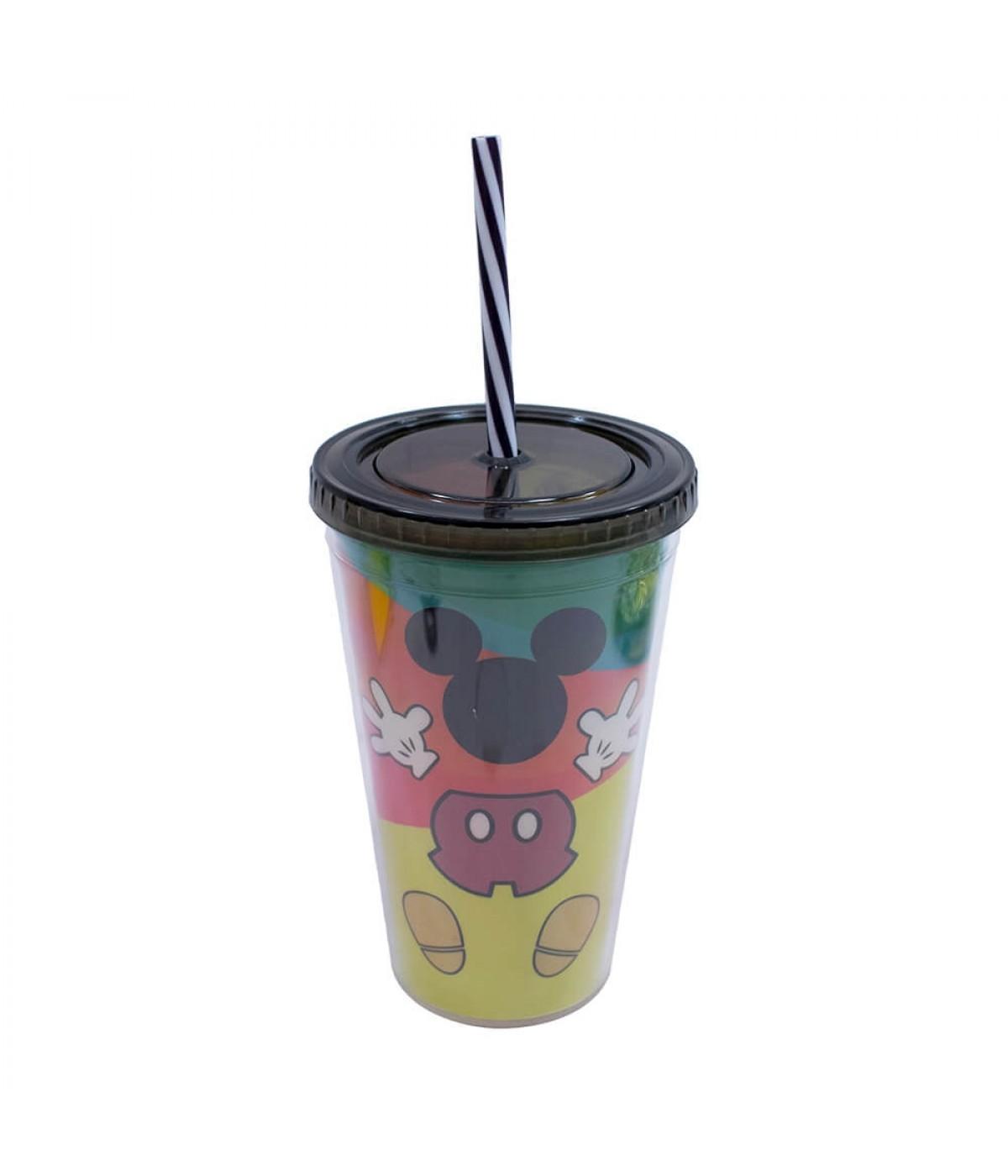 Copo Com Canudo Formato Mickey Colorido 450ml 90 Anos - Disney