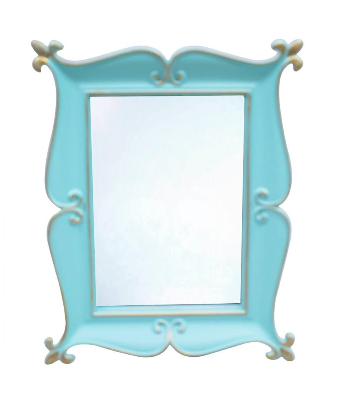 Espelho Moldurado Verde Turquesa 25x20cm
