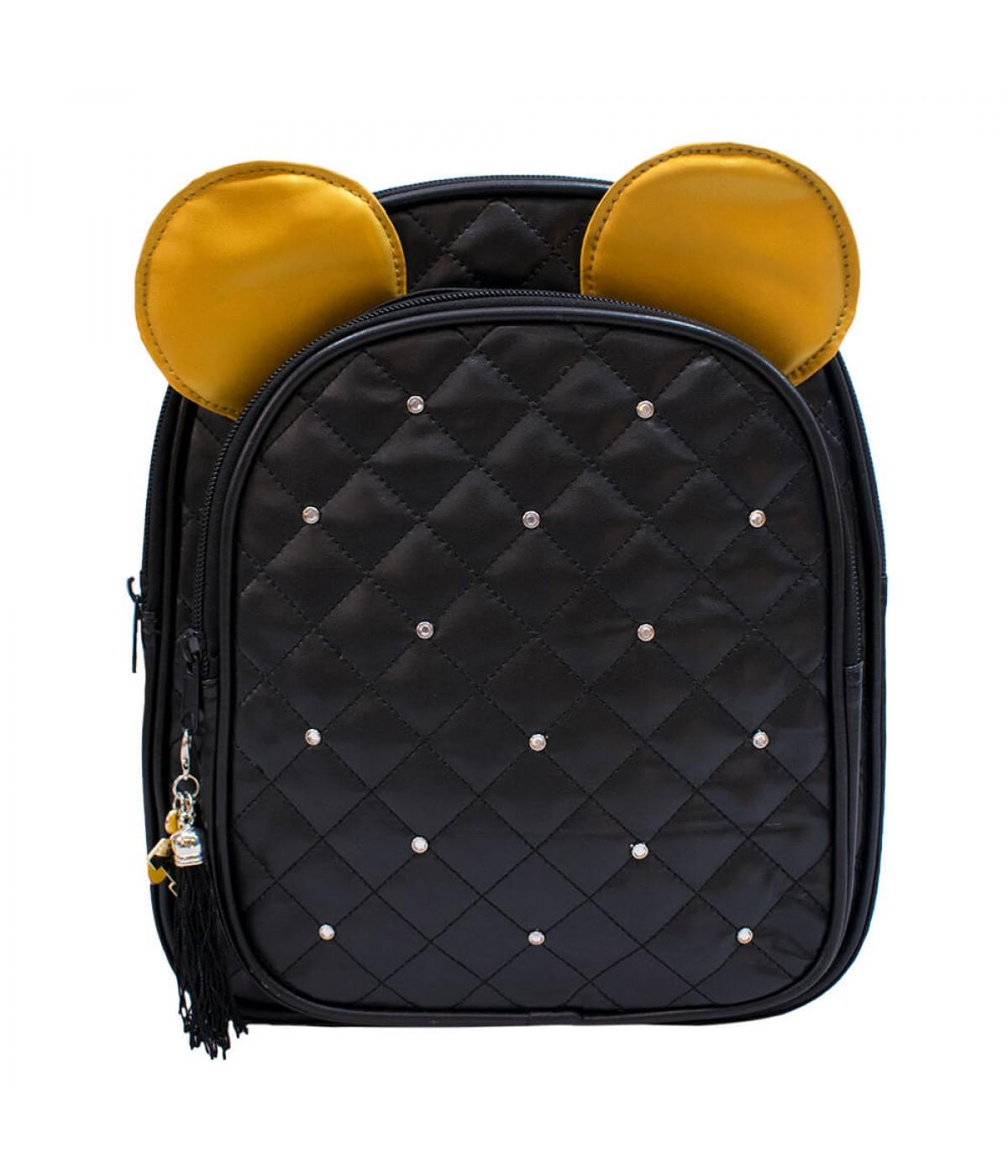 Mochila Preta Orelhas Mickey 26x30x10cm - Disney