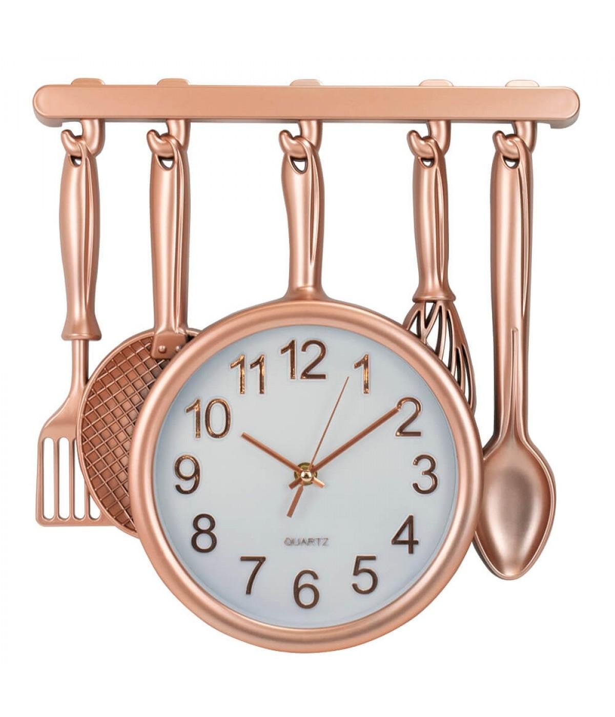 Relógio Parede Utensílios Cozinha Rosê 34x33cm