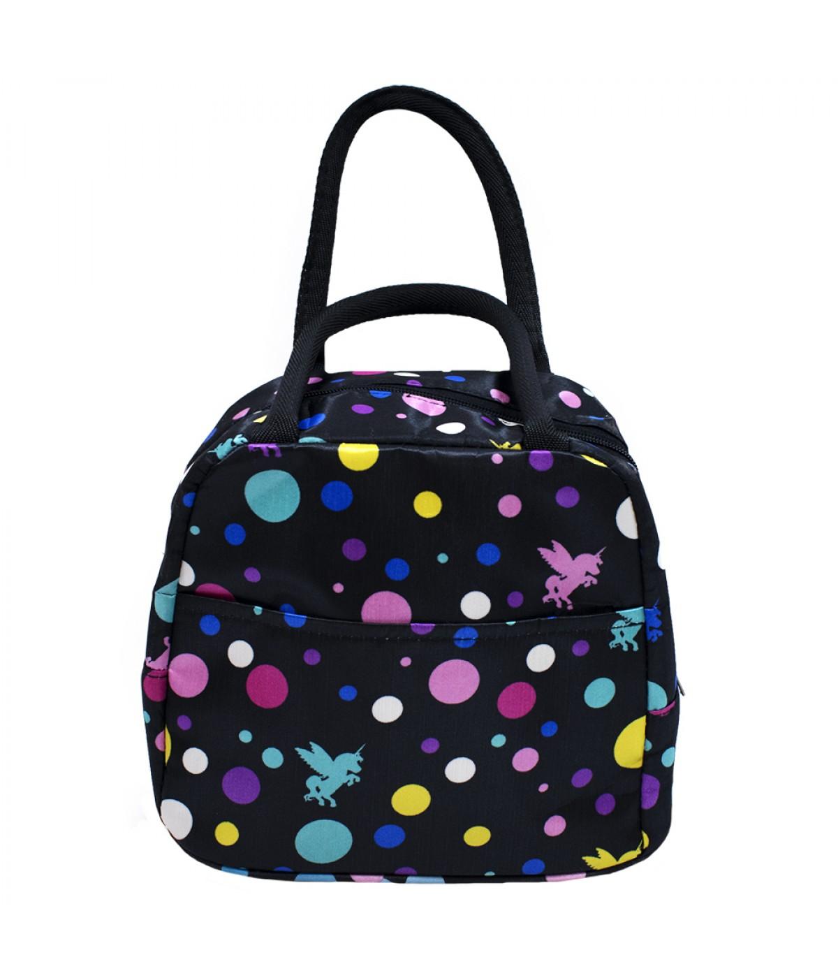 Bolsa Térmica preta bolas coloridas unicórnio 20x16x24cm