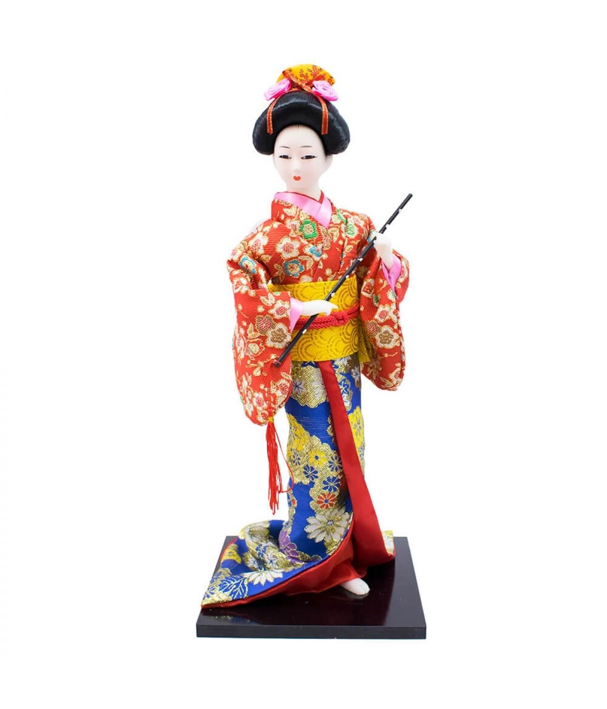 Mulher Japonesa Kimono Azul Vermelho De Resina 36cm