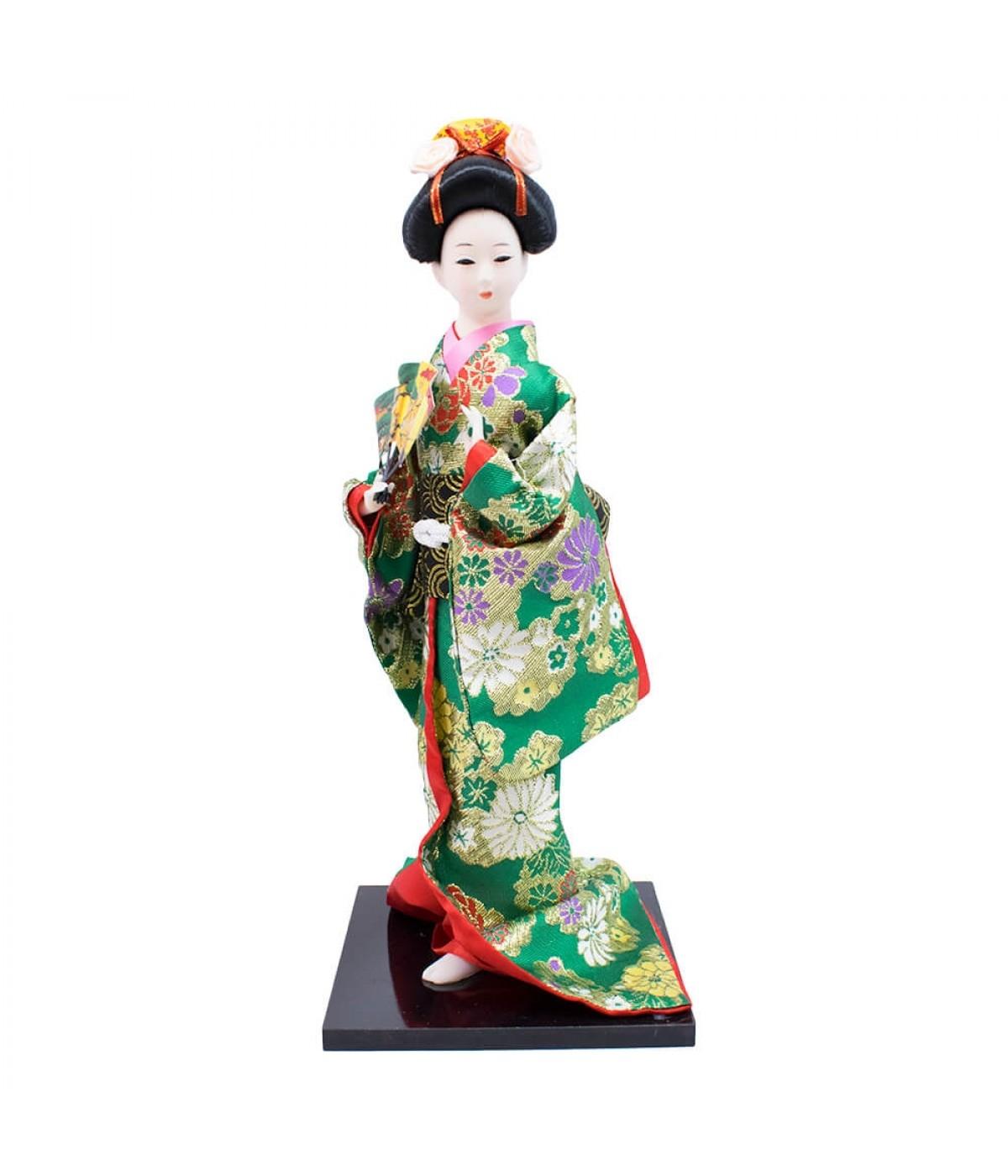 Mulher Japonesa Kimono Verde De Resina 36cm