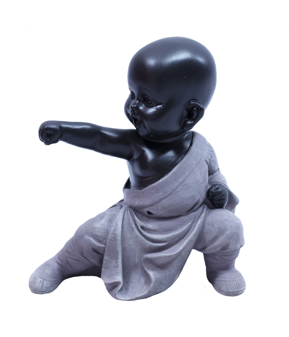 Monge Resina Preta Soco Kungfu 12cm