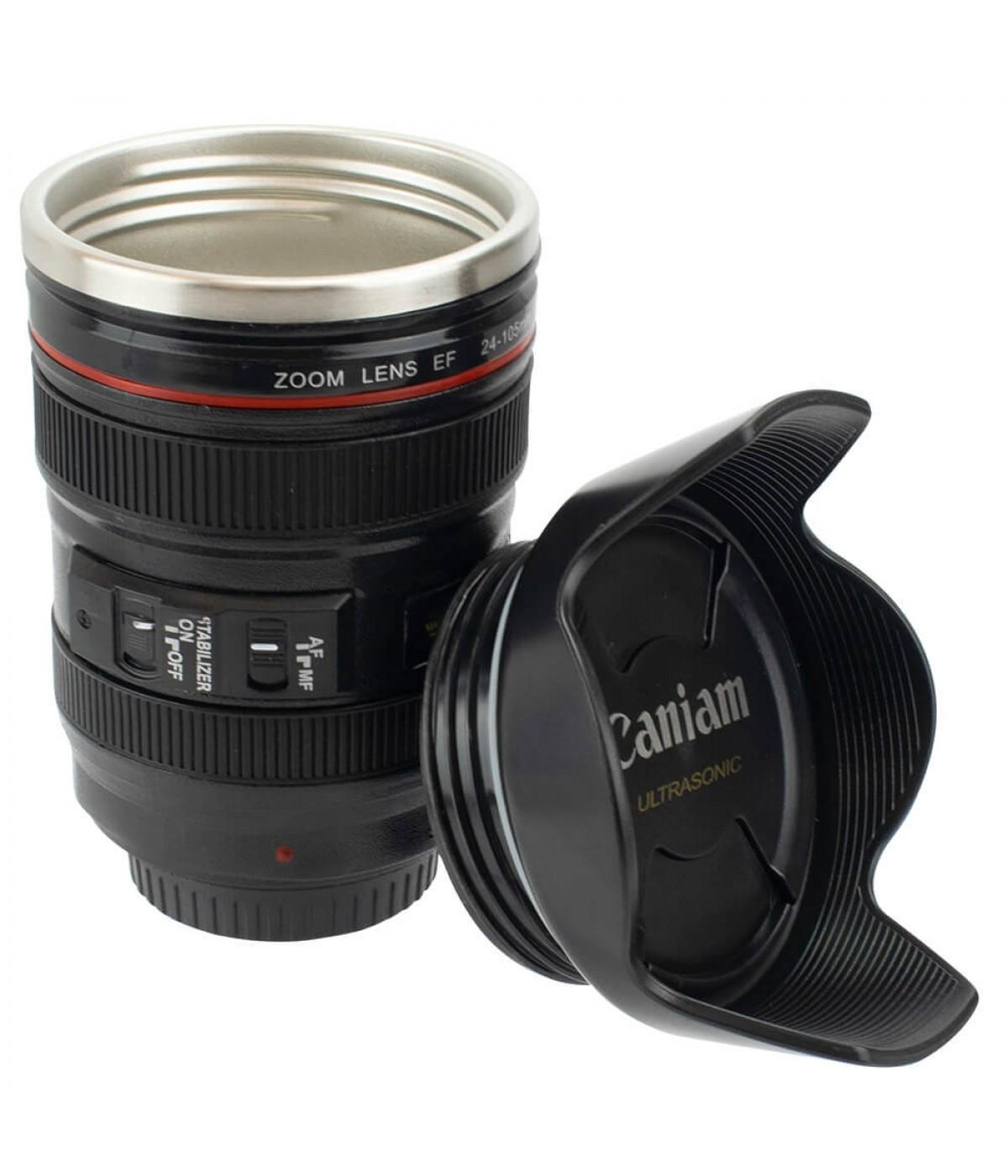 Copo Térmico Preto Formato Lente De Câmera 350ml