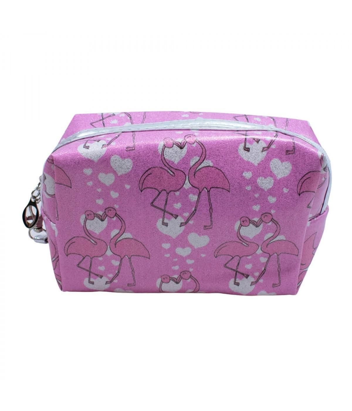 Necessaire Rosa Flamingos 13x8x20cm