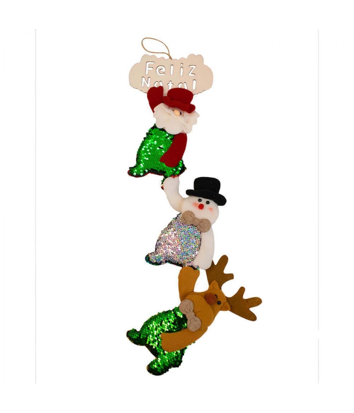 Placa Feliz Natal 3 Bonecos 62cm - Enfeite Natalino