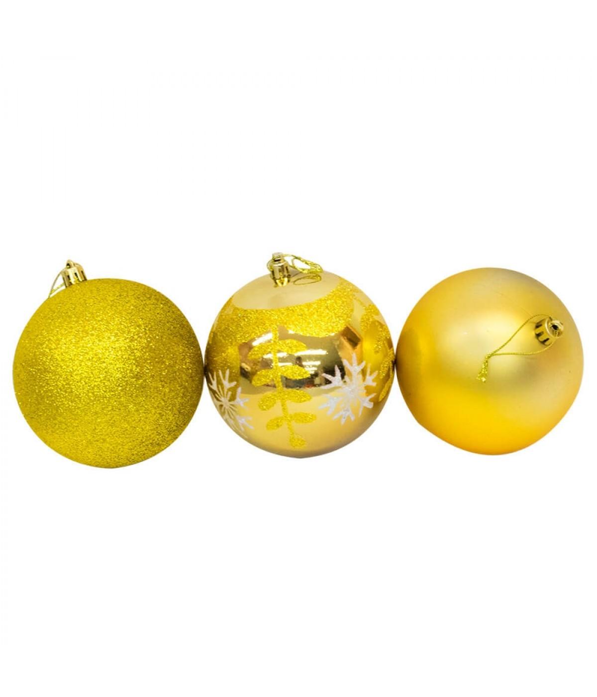 Jogo Com 6 Bolas Natalinas Douradas 10cm - Enfeite Natalino