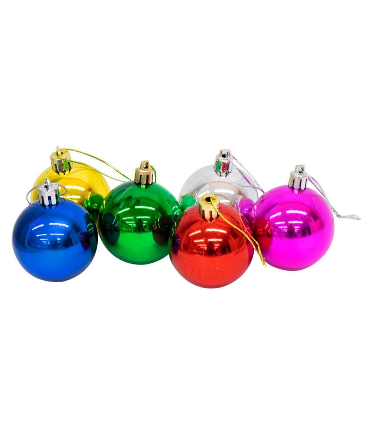 Jogo Com 12 Bolas Natalinas Coloridas 5cm - Enfeite Natalino