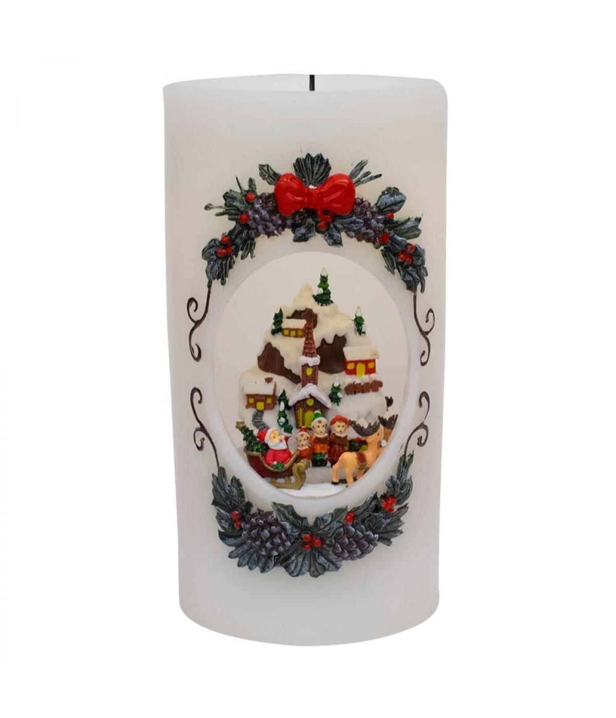 Luminária Vela Musical Natalino 20.5cm