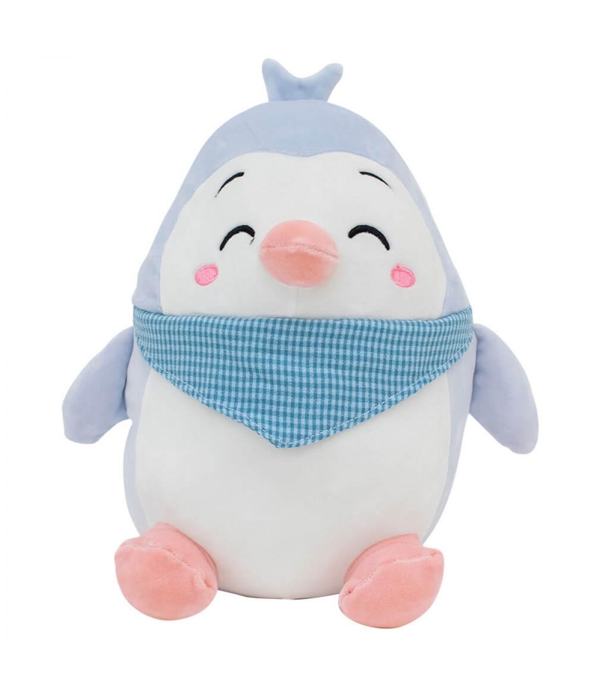 Pinguim Feliz Azul Lenço 25cm - Pelúcia
