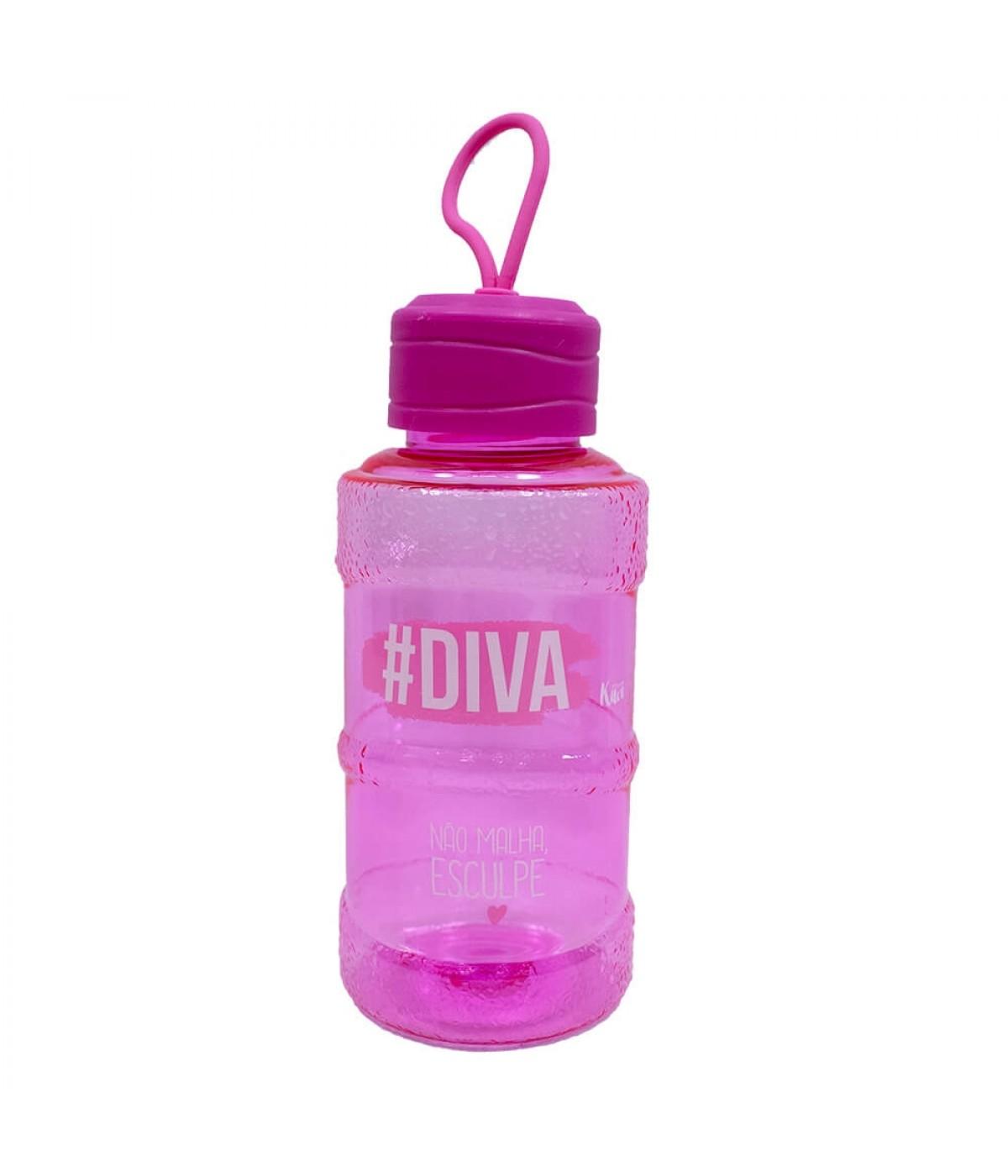 Garrafa Galão Pink #Diva 450ml - Projeto Kiwi