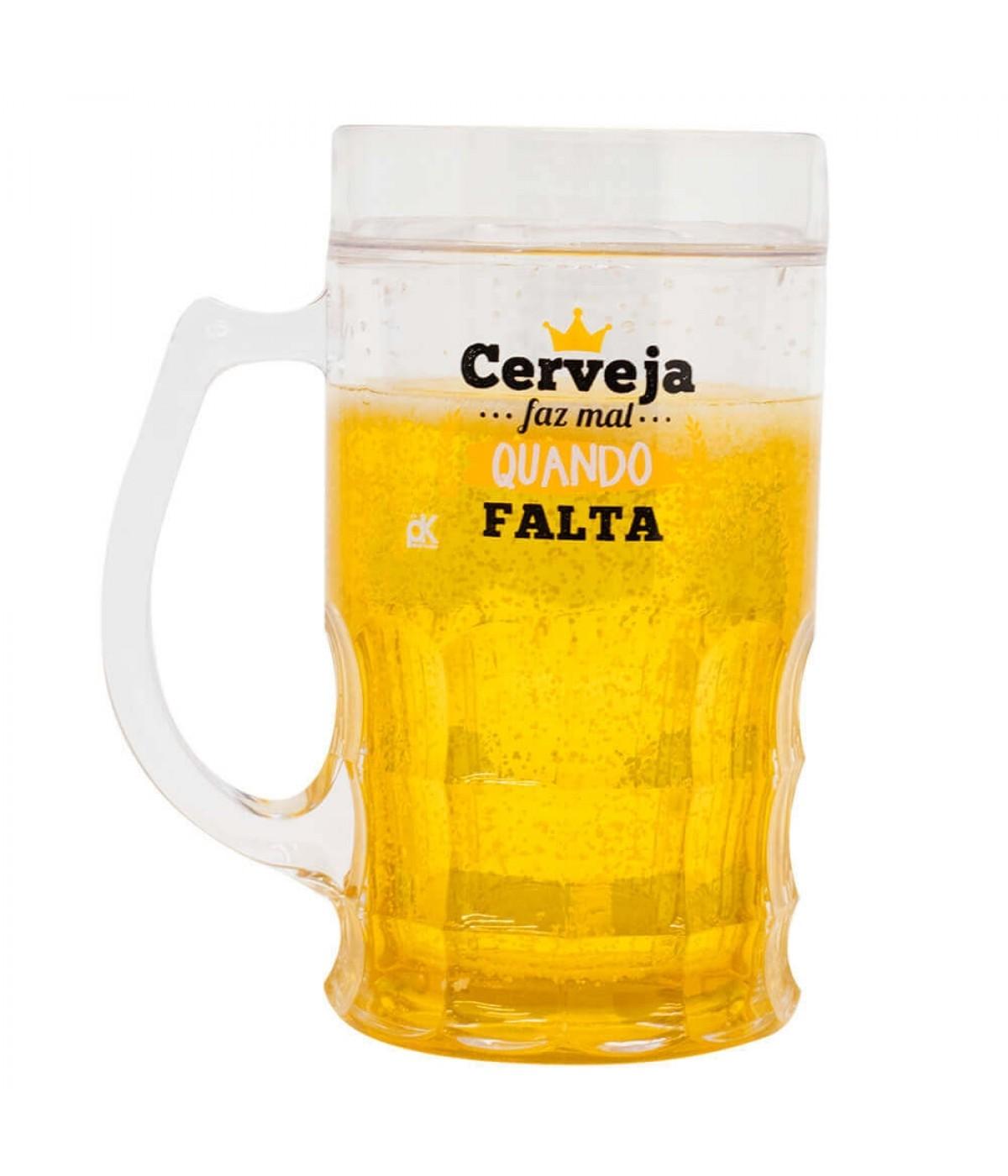 Caneca Cerveja Faz Mal Quando Falta 400ml - Projeto Kiwi