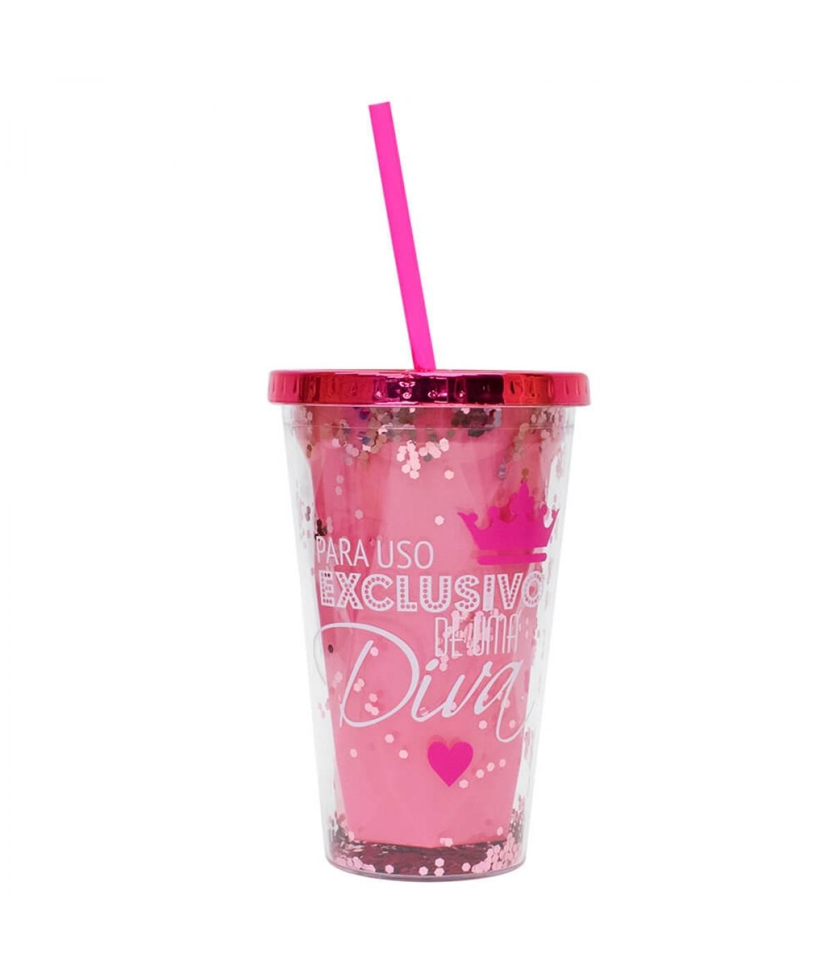 Copo Canudo Rosa Para Uso Exclusivo Diva 450ml - Projeto Kiwi