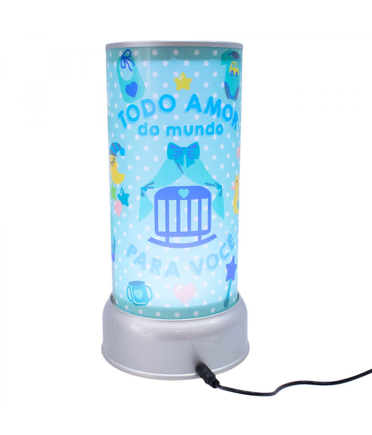 Luminária Giratória Azul Todo Amor Do Mundo Para Você - Projeto Kiwi