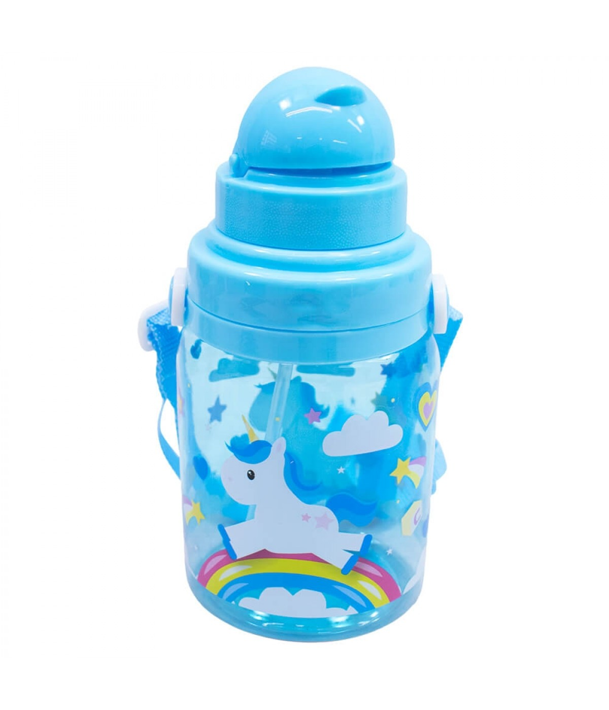 Garrafa Plástico Unicórnio Azul 600ml - Projeto Kiwi