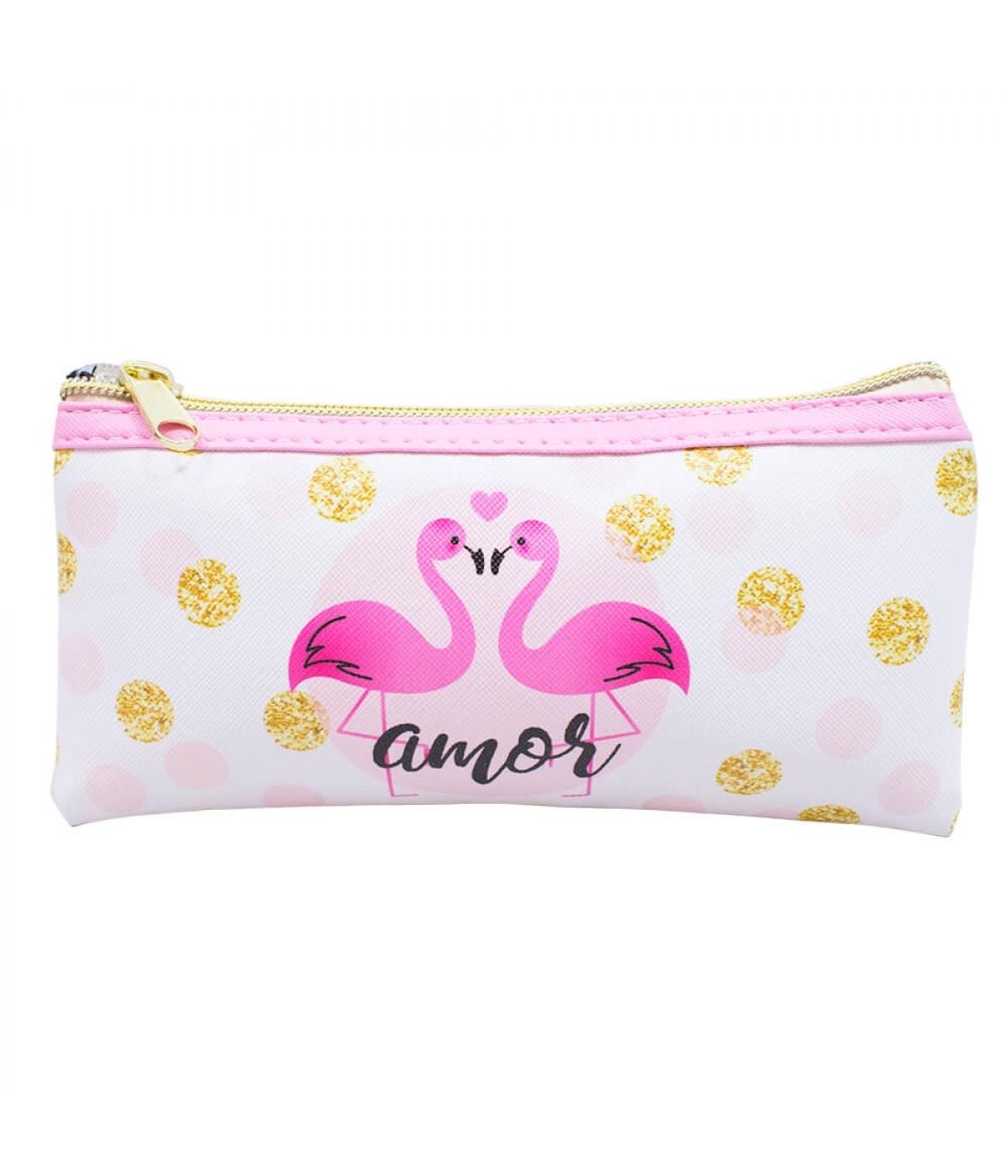Necessaire Estojo Flamingos 10x2x20cm - Projeto Kiwi